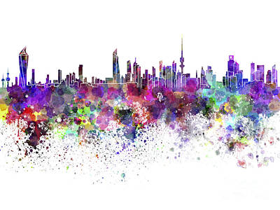 Grunge Painting - Kuwait City Skyline In Watercolor On White Background by Pablo Romero