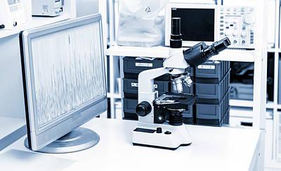 Scrutiny Photograph - Lab Microscope by Wladimir Bulgar