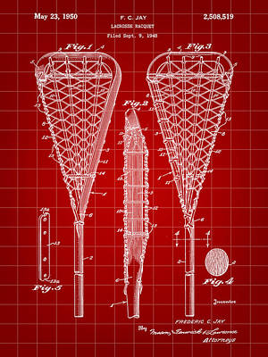 Lacrosse Stick Patent 1948 - Red Art Print