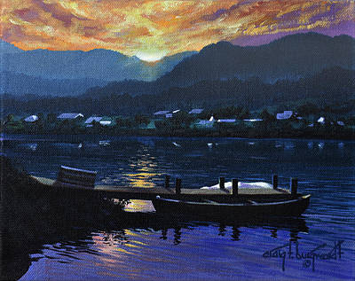 Painting - Lake J Sunset by Craig T Burgwardt
