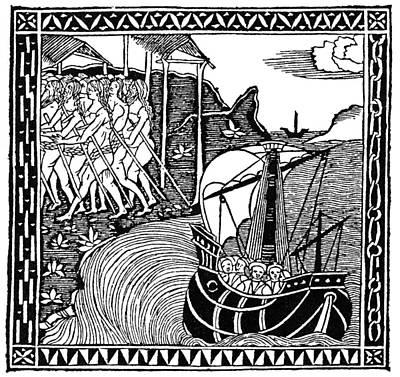 Caribbean Sea Painting - Landing Of Columbus, 1492 by Granger