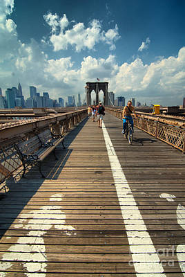 Landmarks Rights Managed Images - Lanes for pedestrian and bicycle traffic on the Brooklyn Bridge Royalty-Free Image by Amy Cicconi