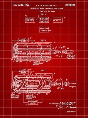 Lithography Digital Art - Laser Patent 1958 - Red by Stephen Younts