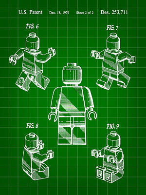 Convention Digital Art - Lego Figure Patent 1979 - Green by Stephen Younts