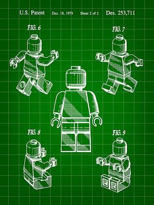 Interlocking Digital Art - Lego Figure Patent 1979 - Green by Stephen Younts