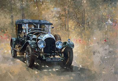 Classic Car Oil Painting - 3 Litre Bentley At Cottesbrooke by Peter Miller