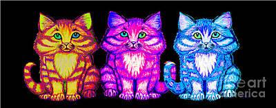Kittens Digital Art - 3 Little Colorful Kittens by Nick Gustafson