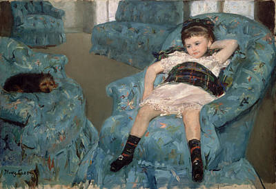Native Painting - Little Girl In A Blue Armchair by Celestial Images