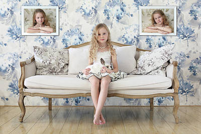 Wallpaper Photograph - 3 Little Girls And A White Rabbit by Victoria Ivanova