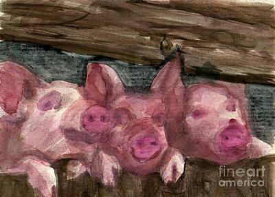 3 Little Pigs Art Print by Sandra Stone