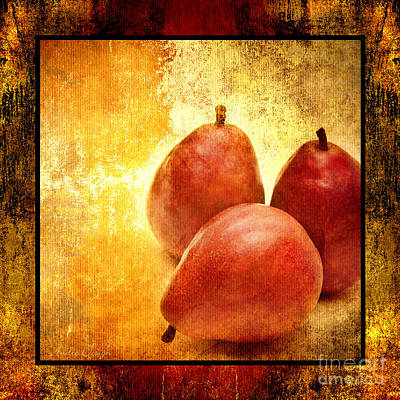 Pear Mixed Media - 3 Little Red Pears Are We 2 by Andee Design