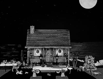 Photograph - Log Cabin Scene With The Classic Old Vintage 1959 Dodge Royal Convertible In Black And White by Leslie Crotty