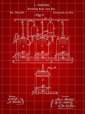Fermentation Digital Art - Louis Pasteur Beer Brewing Patent 1873 - Red by Stephen Younts