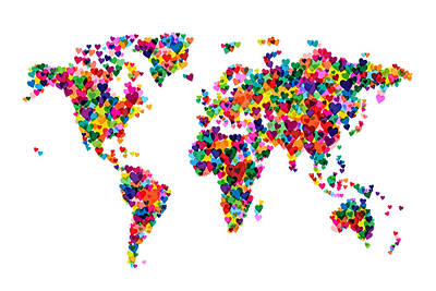 Cartography Digital Art - Love Hearts Map Of The World Map by Michael Tompsett
