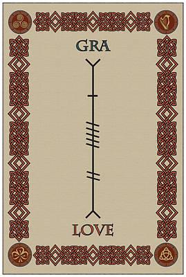 Love Written In Ogham Art Print
