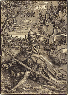 Saint Christopher Drawing - Lucas Cranach The Elder German, 1472 - 1553 by Quint Lox