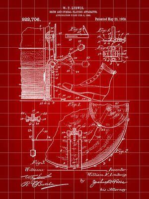 Drum Set Digital Art - Ludwig Drum And Cymbal Foot Pedal Patent 1909 - Red by Stephen Younts