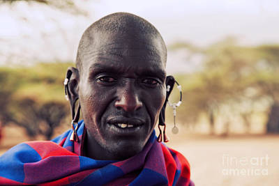 Costume Photograph - Maasai Man Portrait In Tanzania by Michal Bednarek