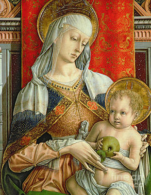 Embroidered Painting - Madonna And Child by Carlo Crivelli