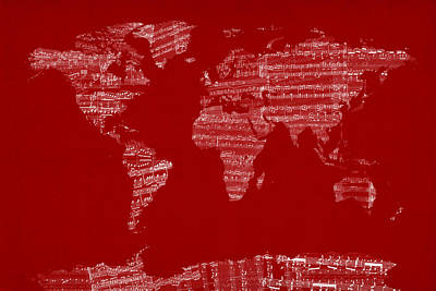 Sheet Music Digital Art - Map Of The World Map From Old Sheet Music by Michael Tompsett