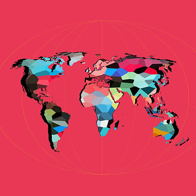 Geometric Animal Digital Art - Map Of The World  by Mark Ashkenazi