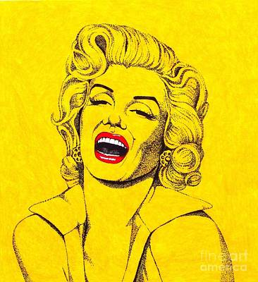 Drawing - Marilyn In Yellow by Joseph Sonday