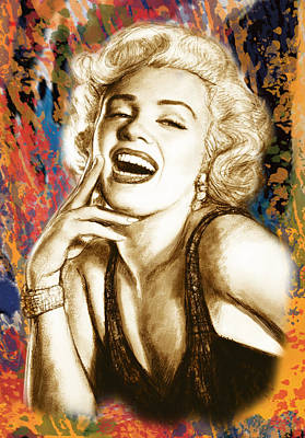 During Drawing - Marilyn Monroe Morden Art Drawing Poster by Kim Wang