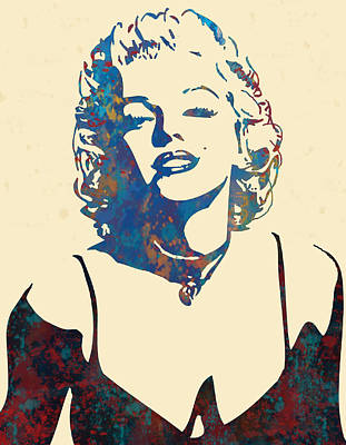 Charcoal Mixed Media - Marilyn Monroe Stylised Pop Art Drawing Sketch Poster by Kim Wang