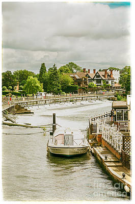 Photograph - Marlow Weir As Seen From Marlow Suspension Bridge  by Lenny Carter