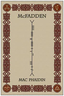 Mcfadden Written In Ogham Art Print