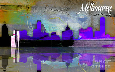 Mixed Media - Melbourne Australia Skyline Watercolor by Marvin Blaine