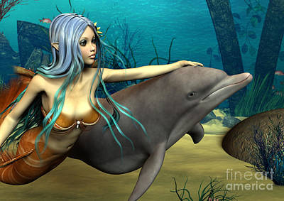 Digital Art - Mermaid And Dolphin by Design Windmill