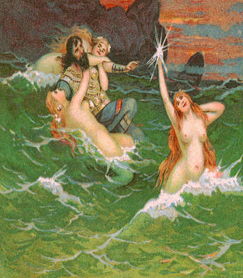 Artwork Painting - 3 Mermaids With Viking Playing In The Sea - At The Beach America by Private Collection