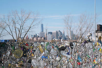 Trash Can Photograph - Metal Cans At A Recycling Centre by Peter Menzel