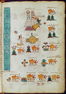 Mexican Town Painting - Mexico Aztec Codex by Granger