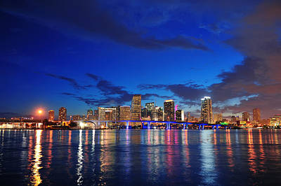 Impressionist Landscapes - Miami night scene by Songquan Deng