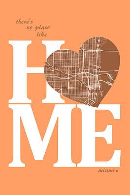 Usa Digital Art - Miami Street Map Home Heart - Miami Florida Road Map In A Heart by Jurq Studio