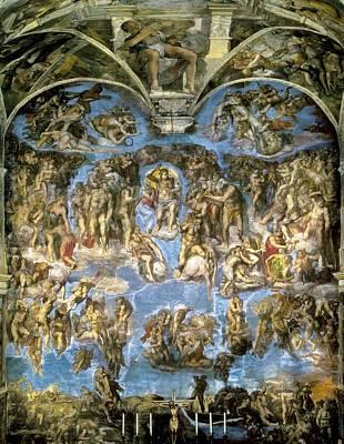 The Last Judgement Photograph - Michelangelo 1475-1564. Sistine Chapel by Everett