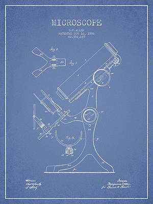 Microscope Patent Drawing From 1886 - Light Blue Art Print
