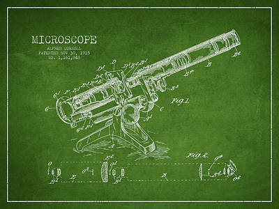 Glass Wall Digital Art - Microscope Patent Drawing From 1915 by Aged Pixel