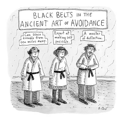 Anxiety Drawing - 3 Middle-aged People In Karate Uniforms -- Black by Roz Chast