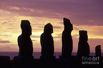 Megalith Photograph - Moai  Easter Island Chile by Ryan Fox
