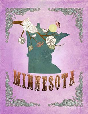 Purple Grapes Digital Art - Modern Vintage Minnesota State Map  by Joy House Studio