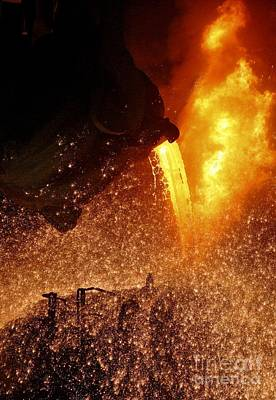 Pour Photograph - Molten Metal Being Poured From A Vat by RIA Novosti