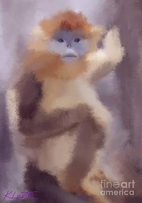 Cute Monkey Drawing - Monkey Business by Karen Larter