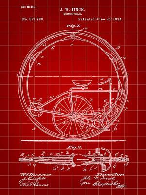Triathlon Digital Art - Monocycle Patent 1894 - Red by Stephen Younts