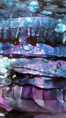 3 Moon In The Night Abstract Alcohol Inks Art Print by Danielle  Parent
