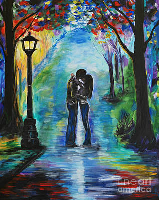 Rainy Painting - Moonlight Kiss by Leslie Allen