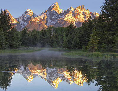 Teton Photograph - Morning Reflection by Andrew Soundarajan