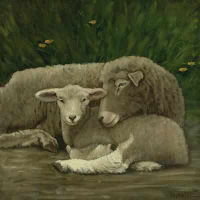 Mother And Lamb Art Print